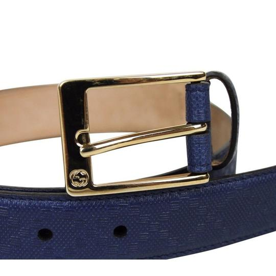 Gucci Navy Blue Square Leather Belt with Buckle 345658 4232 Groomsman Gift Image 4