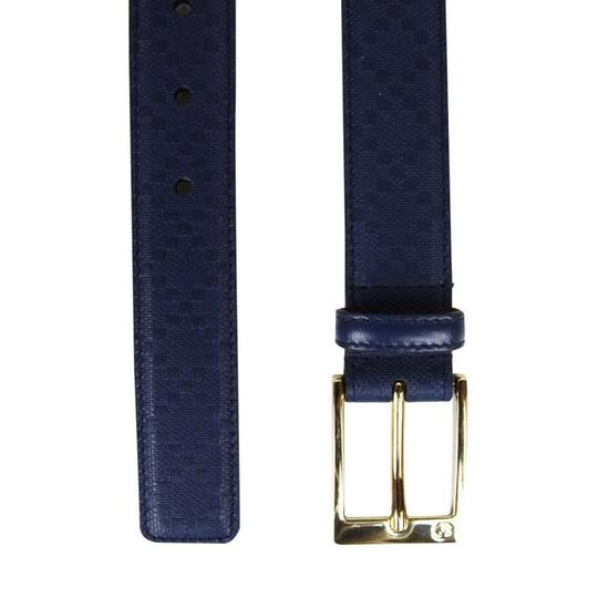 Gucci Navy Blue Square Leather Belt with Buckle 345658 4232 Groomsman Gift Image 5