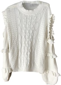 Express Cold Shoulder Cable Stitch Mock Turtle Ruffles Sweater