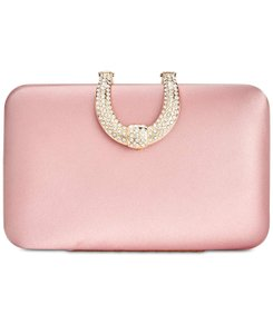 INC International Concepts Satin Horse Shoe Embellished Blush Clutch