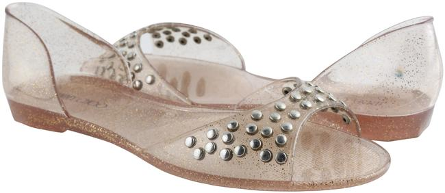 Item - Gold Jelly Glitter Clear Rubber Studded Sandals Size US 8 Regular (M, B)