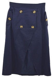 C/meo Collective #nautical #summer #tortoise Shell #buttons #navy Skirt BLUE / BROWN