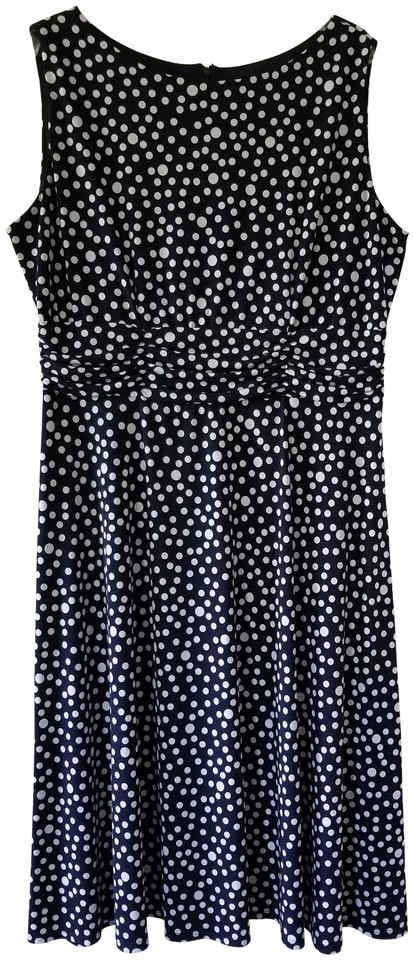 CJ Banks Navy Blue and White Polka Dot Mid-length Work/Office Dress Size 16  (XL, Plus 0x) 73% off retail