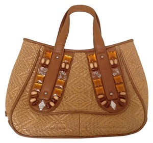Cole Haan Tote in Tan leather with strraw
