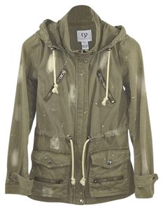 Charlotte Ronson #fall #army #paint Splatter #bleached #pockets GREEN/ IVORY Jacket