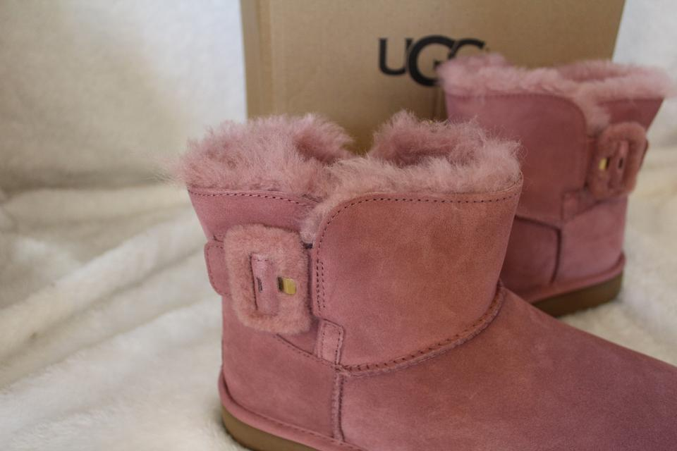 75b05033156 UGG Australia Pink Fluff Buckle Mini Suede Shearling Boots/Booties Size US  11 Regular (M, B) 17% off retail
