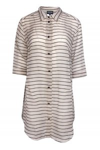 Giorgio Armani Shirts Beige Striped Silk Top