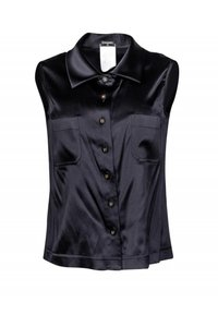 Chanel Shirts Silk Collared Top black