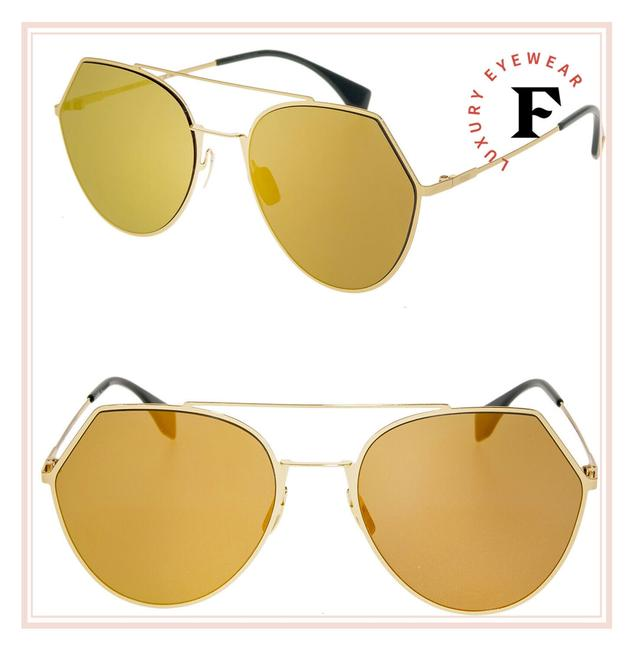 Item - Gold Yellow Eyeline 0194 Mirrored Aviator Ff0194s Sunglasses