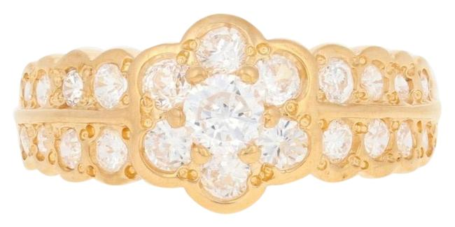 Item - Yellow .75ctw Round Cut Cubic Zirconia - 22k Gold Floral Cz E4967 Ring