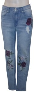 DG2 by Diane Gilman Embroidered Distressed Floral Stretchy Skinny Jeans-Light Wash