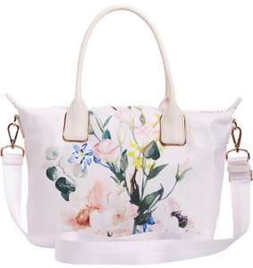Ted Baker Floral Rose Gold Hardware Shopper Tote in Nude Pink