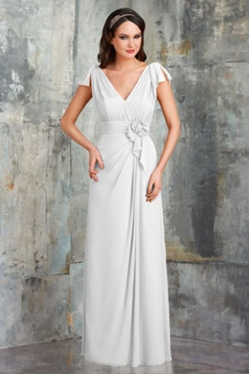 Bari Jay White Chiffon 551 Feminine Wedding Dress Size 14 (L)