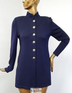 St. John Basics Navy Santana Knit Cardigan Long Jacket Usa Sweater