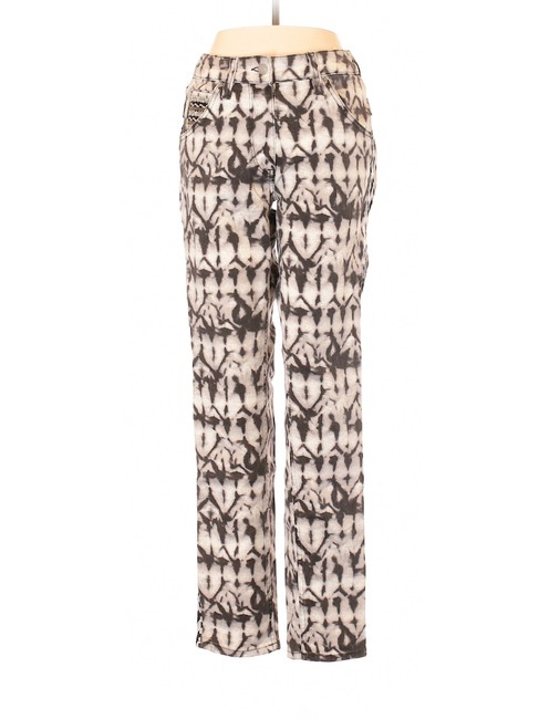 Item - Ivory & Black Light Wash White Printed Trousers Skinny Jeans Size 29 (6, M)