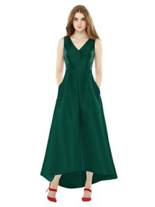 Alfred Sung Hunter Green Sateen Twill D723 Retro Bridesmaid/Mob Dress Size 6 (S)