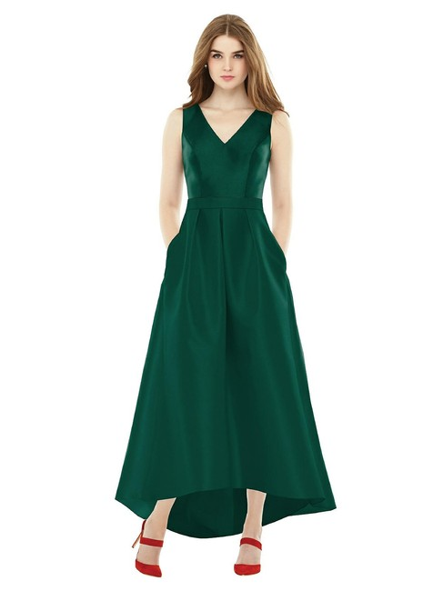 Item - Hunter Green Sateen Twill D723 Retro Bridesmaid/Mob Dress Size 6 (S)