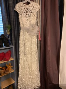 David's Bridal Silver Laced with Satin Mermaid Style Overlay Vintage Wedding Dress Size 6 (S)