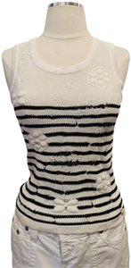 Chanel Crochet Sleeveless Must Have Chic Elegant Top White and Black