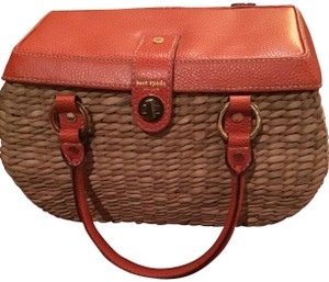 Kate Spade Euc Leather Rattan Twist Closure Lined Zippered Pocket Tangerine & Tan Messenger Bag