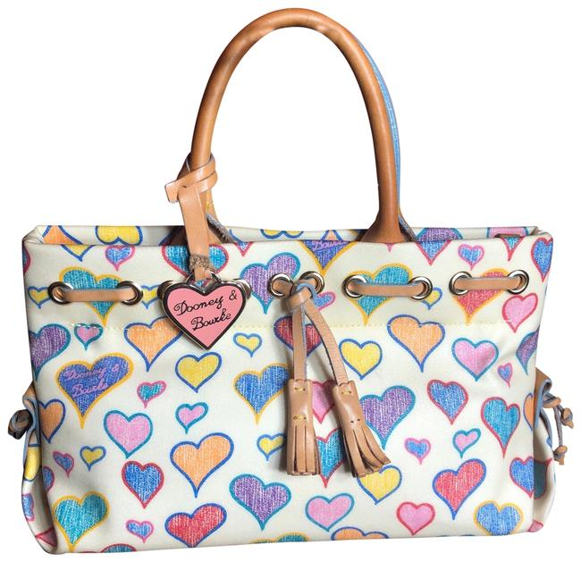 Item - Multi-colored Heart Pattern Handles/Trim Satchel White/Blue//Pink/Light Brown Lambskin Leather Tote