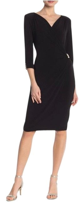 Item - Black Silver Wrap Cocktail Metal Accents Mid-length Night Out Dress Size Petite 6 (S)