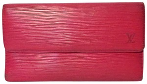 Louis Vuitton LV red epi leather Sarah long snap wallet