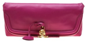 Alexander McQueen Leather Canvas Studded Pink Clutch