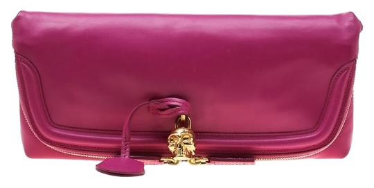 Alexander McQueen Leather Canvas Studded Pink Clutch Image 0