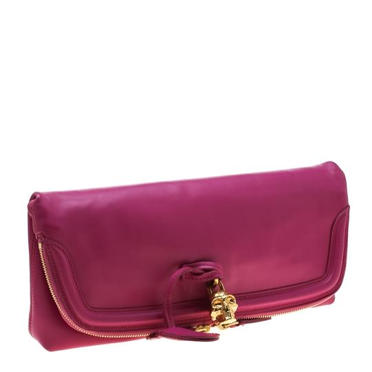 Alexander McQueen Leather Canvas Studded Pink Clutch Image 3