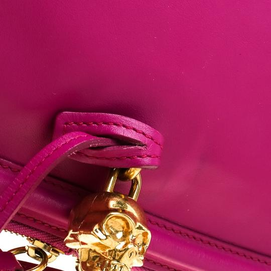 Alexander McQueen Leather Canvas Studded Pink Clutch Image 8