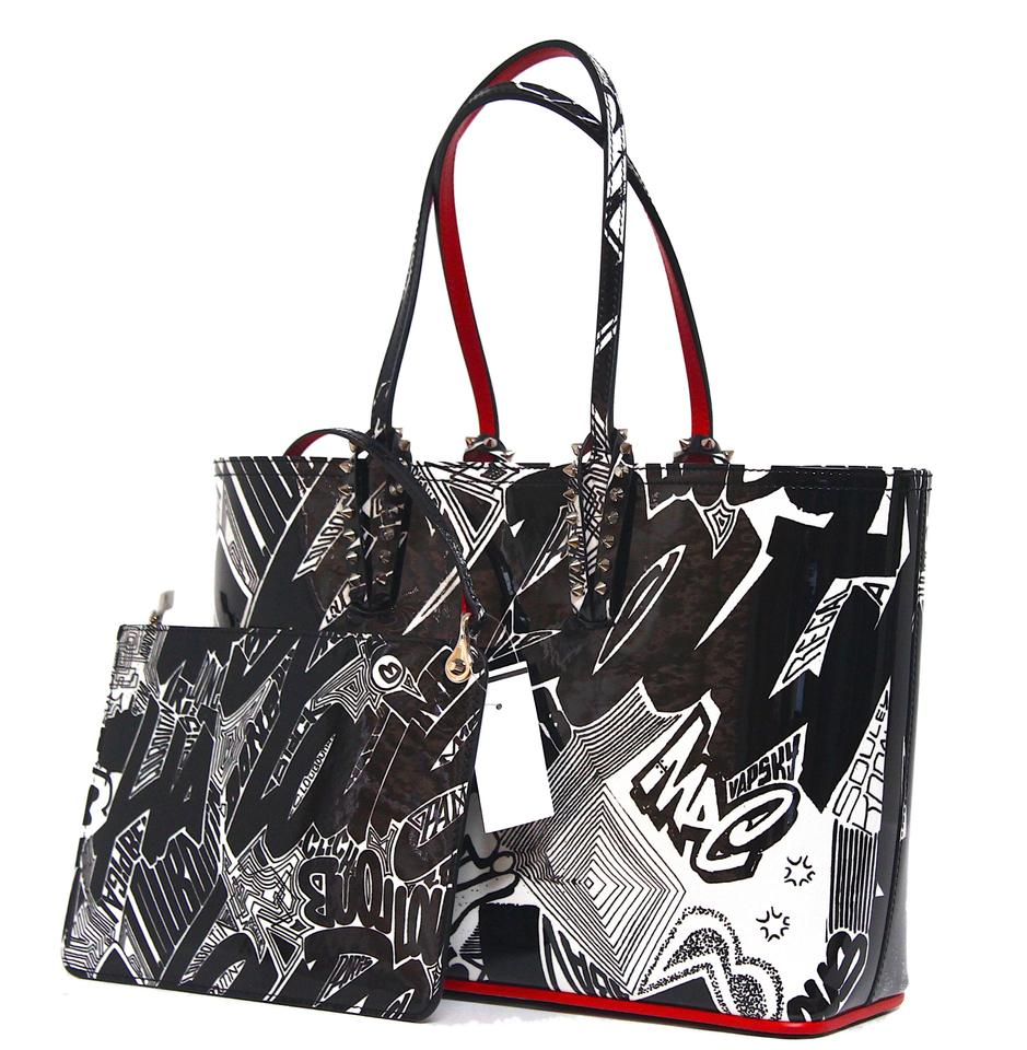 3b3a90384c4 Christian Louboutin Cabata Small Nicograf White Patent Black Leather Tote  15% off retail
