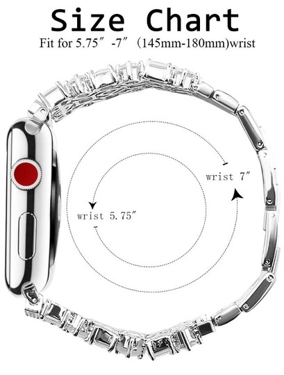 Apple Silver Luxury custom Swarovski Crystals replacement bracelet watch band Image 10