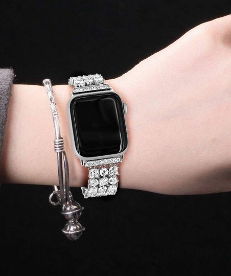 Apple Silver Luxury custom Swarovski Crystals replacement bracelet watch band Image 11