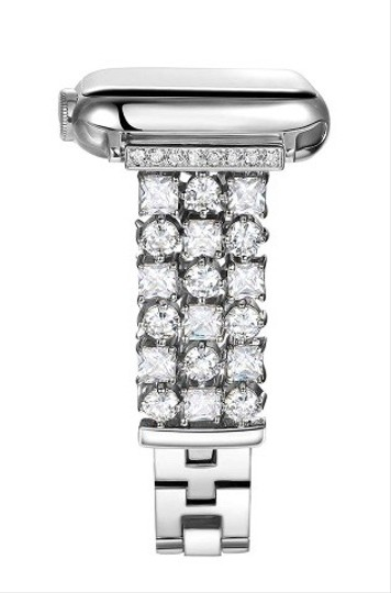 Apple Silver Luxury custom Swarovski Crystals replacement bracelet watch band Image 2