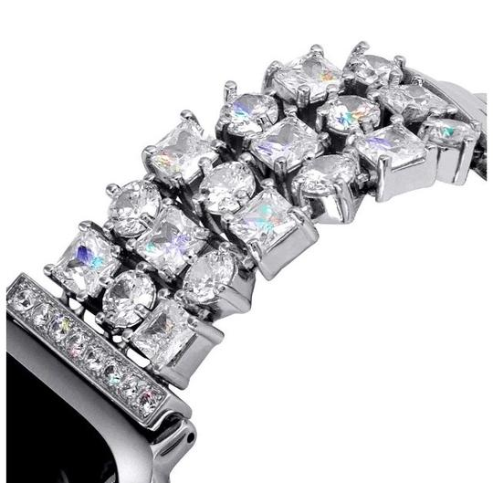 Apple Silver Luxury custom Swarovski Crystals replacement bracelet watch band Image 3