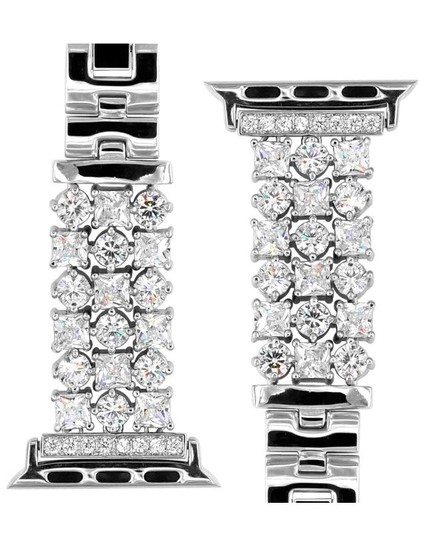 Apple Silver Luxury custom Swarovski Crystals replacement bracelet watch band Image 4