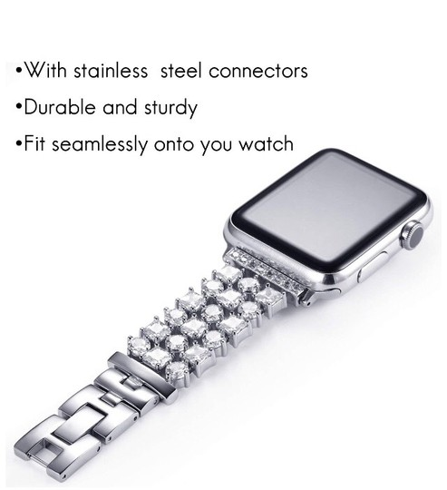 Apple Silver Luxury custom Swarovski Crystals replacement bracelet watch band Image 5