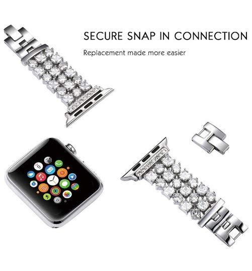 Apple Silver Luxury custom Swarovski Crystals replacement bracelet watch band Image 6