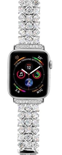 Apple Silver Luxury custom Swarovski Crystals replacement bracelet watch band Image 1