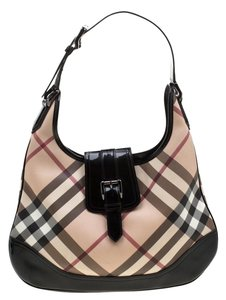 Burberry Pvc Patent Leather Fabric Hobo Bag