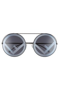 Fendi Black metal Fendi Zucca FF logo round-sunglasses