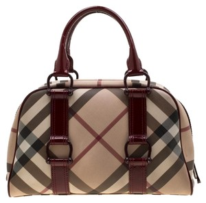 Burberry Pvc Patent Fabric Satchel in Beige, Maroon