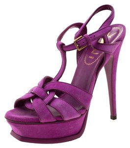 Saint Laurent Suede Platform Purple Sandals