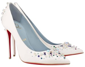 Christian Louboutin Beaded Crystal So Kate Pearl Candidate Crepe White Pumps