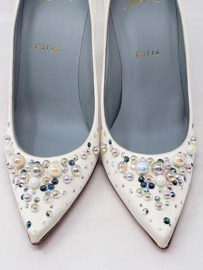 Christian Louboutin Beaded Crystal So Kate Pearl Candidate Crepe White Pumps Image 10