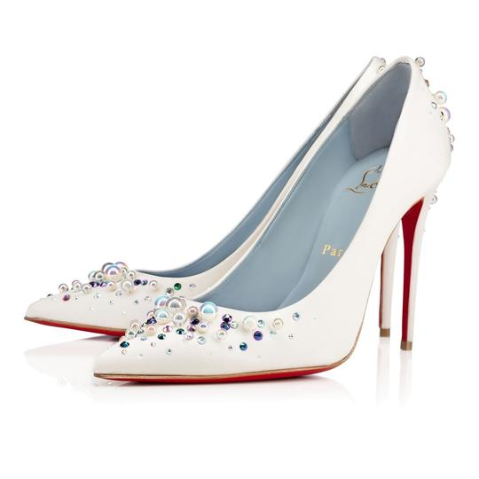 Christian Louboutin Beaded Crystal So Kate Pearl Candidate Crepe White Pumps Image 2
