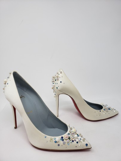Christian Louboutin Beaded Crystal So Kate Pearl Candidate Crepe White Pumps Image 3