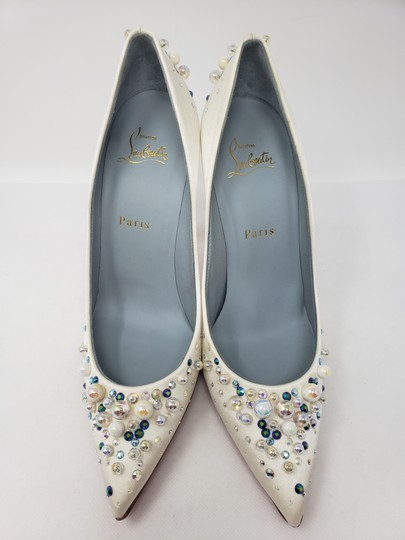 Christian Louboutin Beaded Crystal So Kate Pearl Candidate Crepe White Pumps Image 4