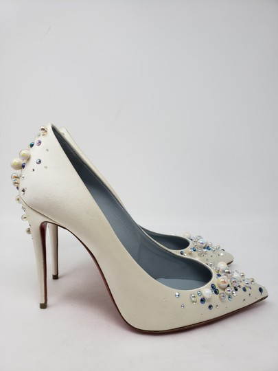 Christian Louboutin Beaded Crystal So Kate Pearl Candidate Crepe White Pumps Image 5